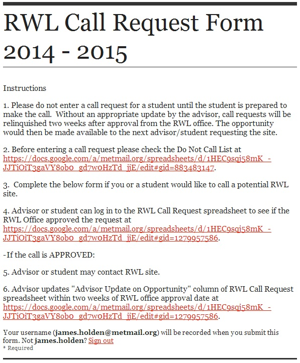 2014 – 2015 RWL CALL REQUEST SHEET: FORM AND REMINDERS | Met Connect